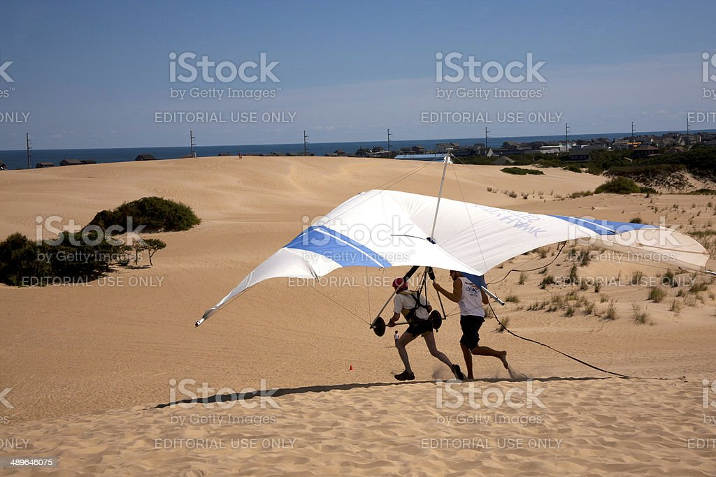 Hang Gliding Take Off stock photo