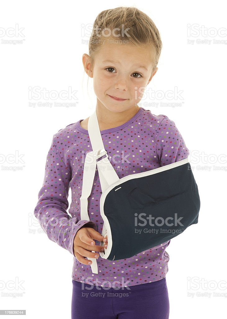Hang in there Kiddo! Little Girl with Broken Arm stock photo