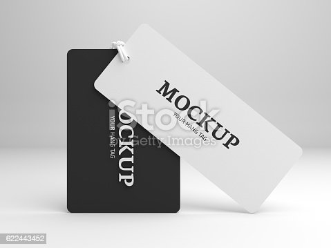 istock Hang tag 3D illustration mockup for branding label or cloth. 622443452