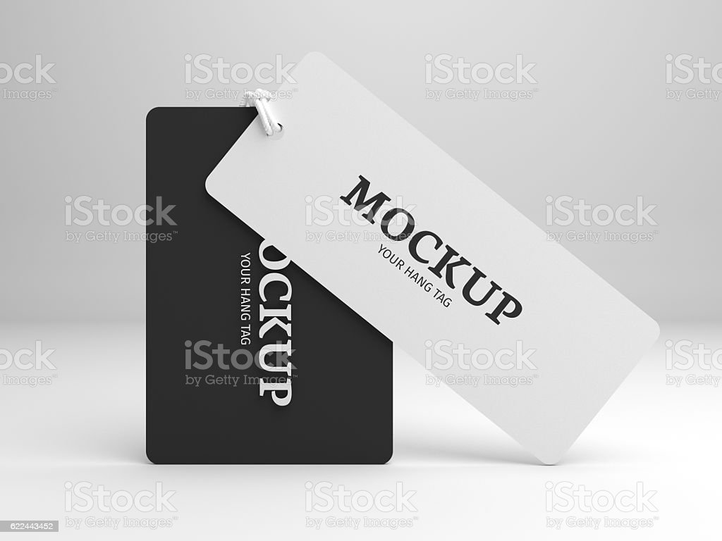 Hang tag 3D illustration mockup for branding label or cloth. stock photo