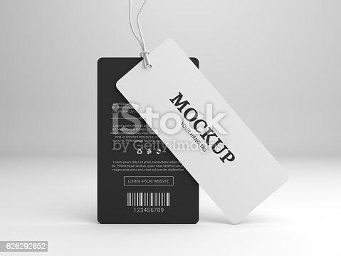 istock Hang tag 3D illustration mockup for branding label 626292652