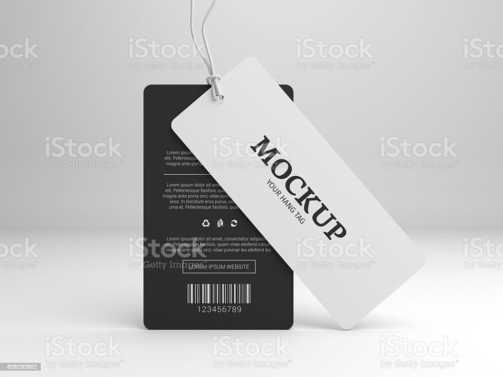 Hang tag 3D illustration mockup for branding label vector art illustration