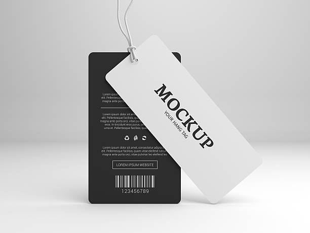 hang tag 3d illustration mockup for branding label - label stock pictures, royalty-free photos & images
