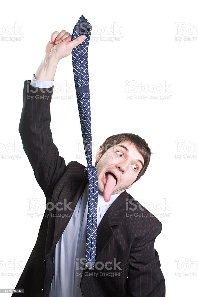 Hang tie suicide of businessman with long tongue royalty-free stock photo