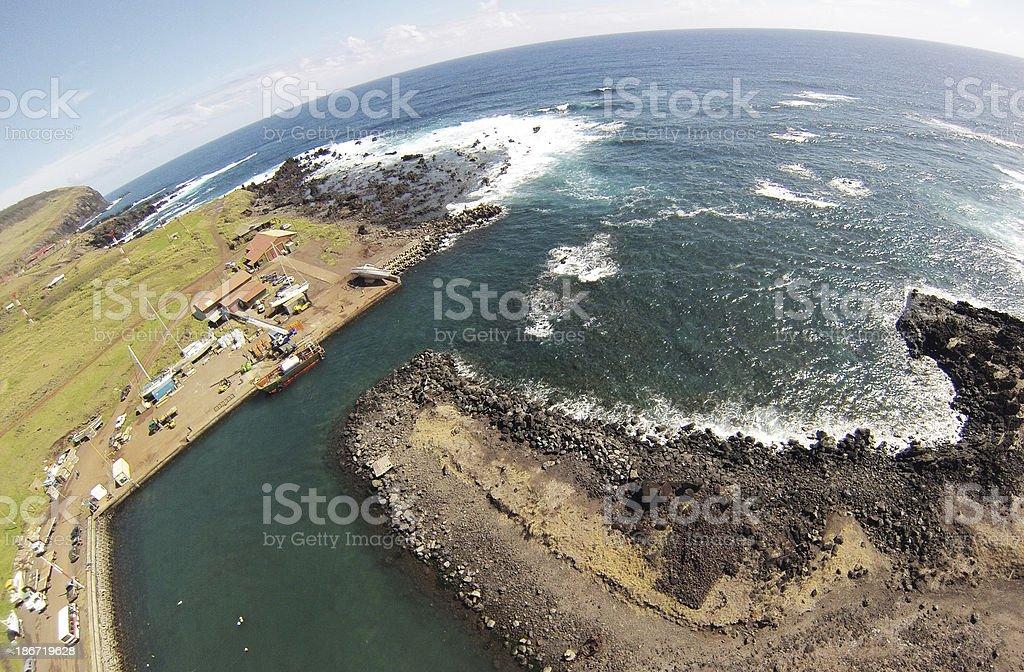 Hanga Piko, Rapa Nui aereal view royalty-free stock photo