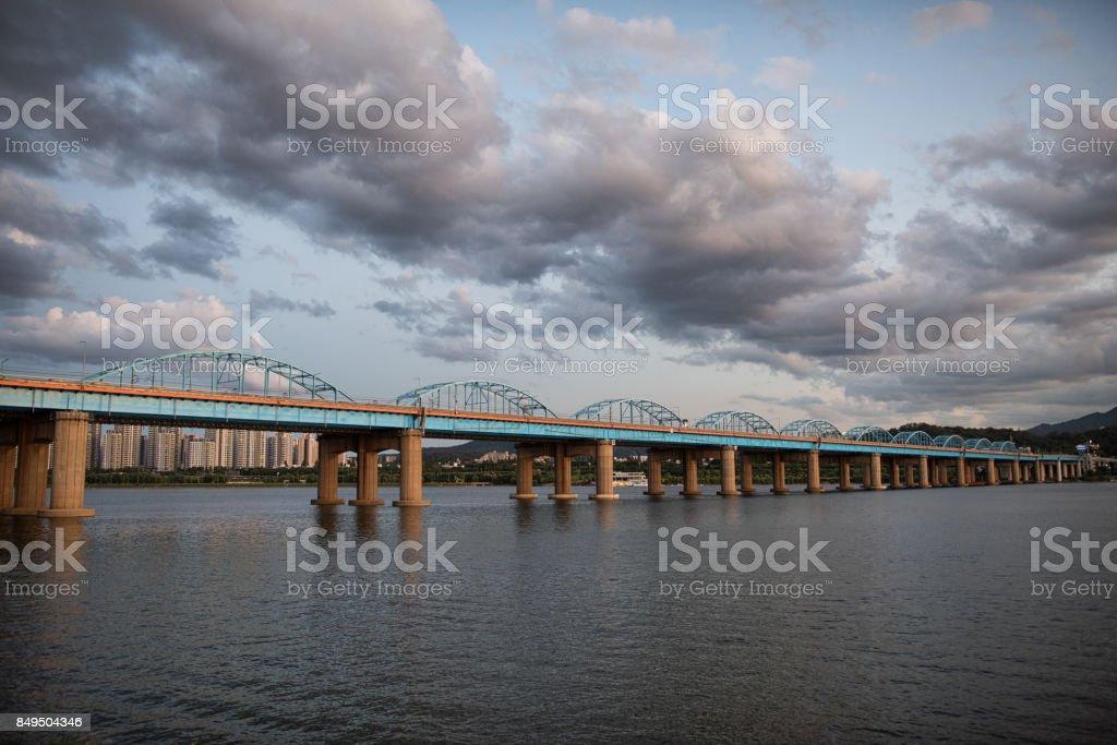 Hangang River Bridge, Seoul stock photo