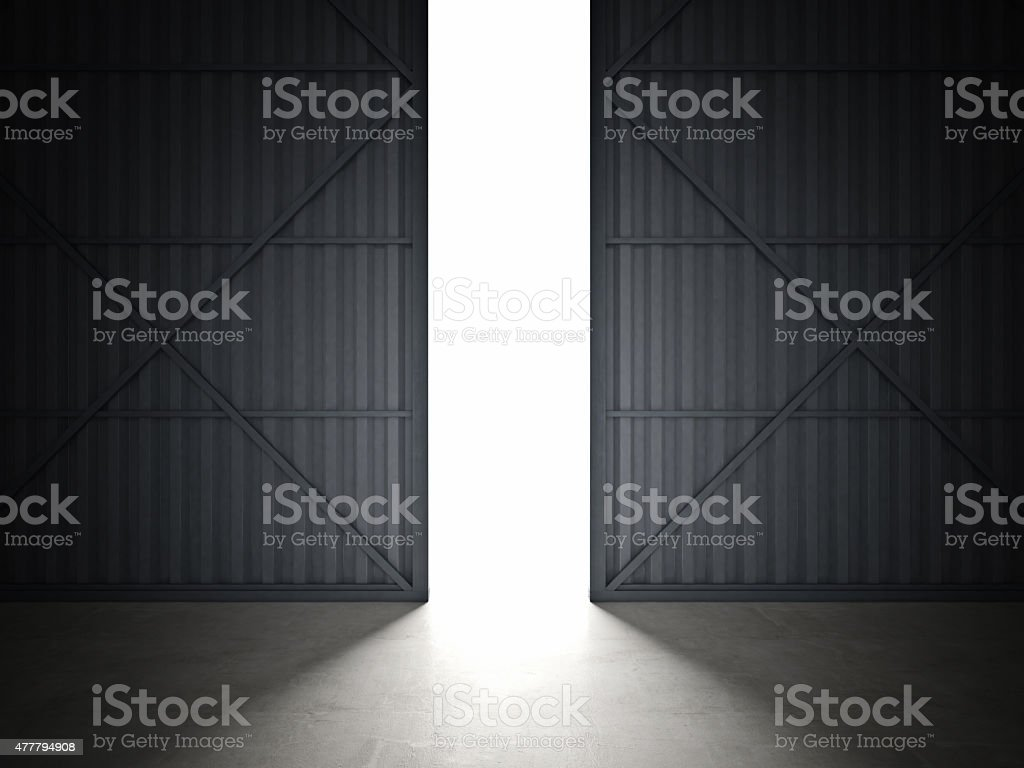 hangar door stock photo