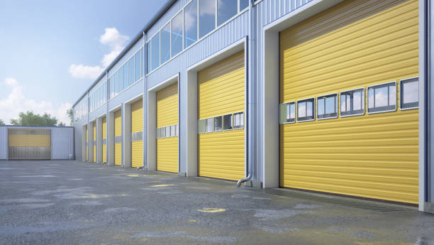 Hangar exterior with rolling gates. 3d illustration stock photo