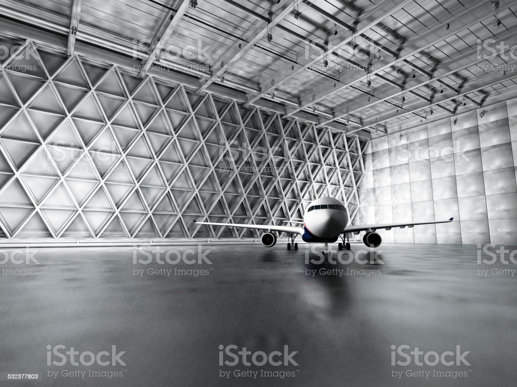 Hangar, garage, warehouse with passenger airplane stock photo
