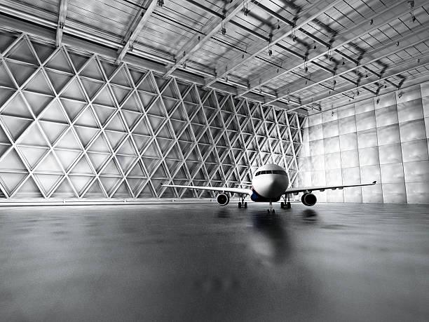 Hangar, garage, warehouse with passenger airplane Hangar, garage, warehouse with passenger airplane. airplane hangar stock pictures, royalty-free photos & images