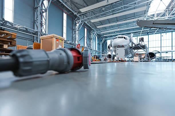 Hangar, low angle view stock photo