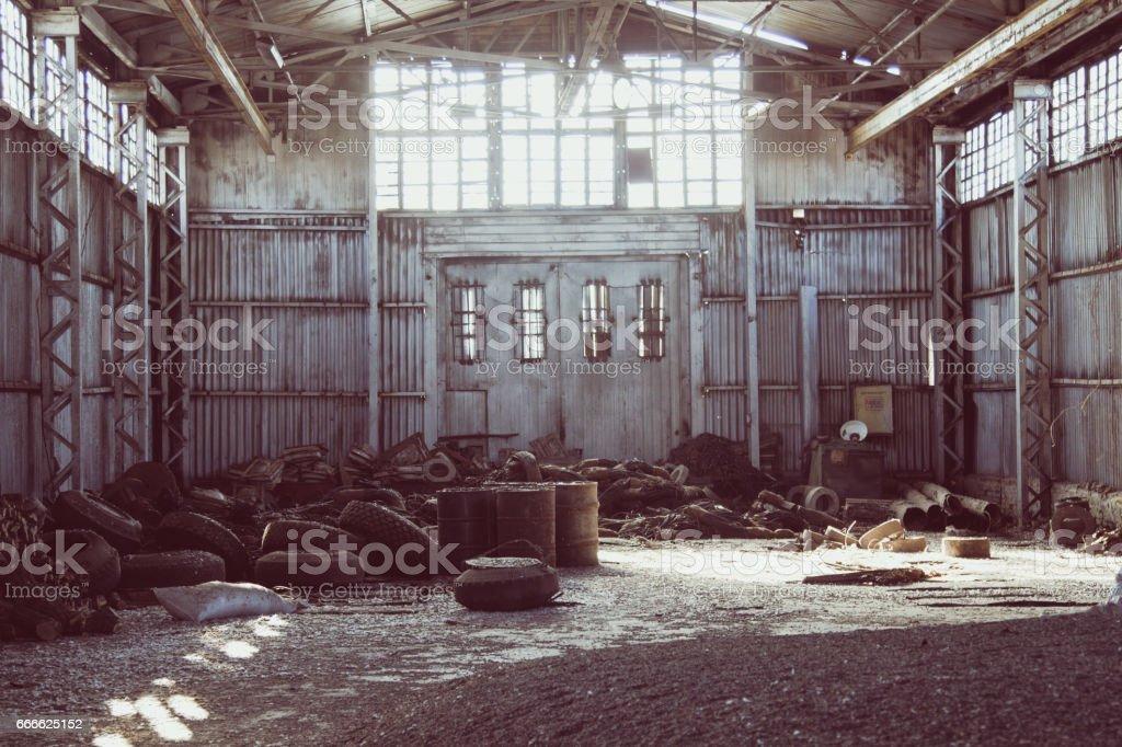 hangar. stock. Old factory. stock photo