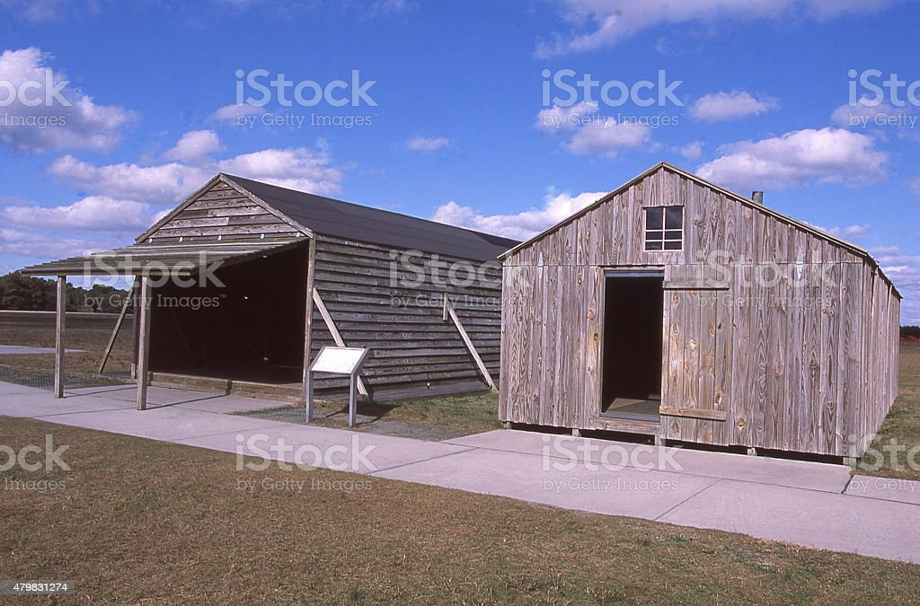 Hangars Wright Brothers National Historical Memorial Kitty Hawk North Carolina stock photo