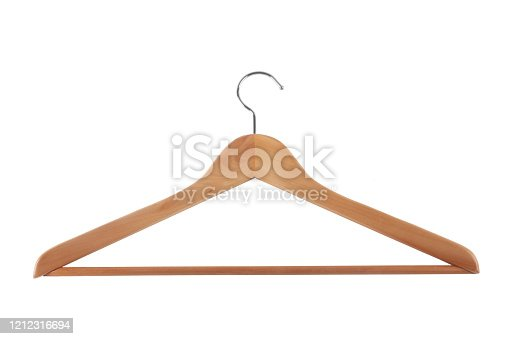 Studio shot of a wooden hanger isolated on white background