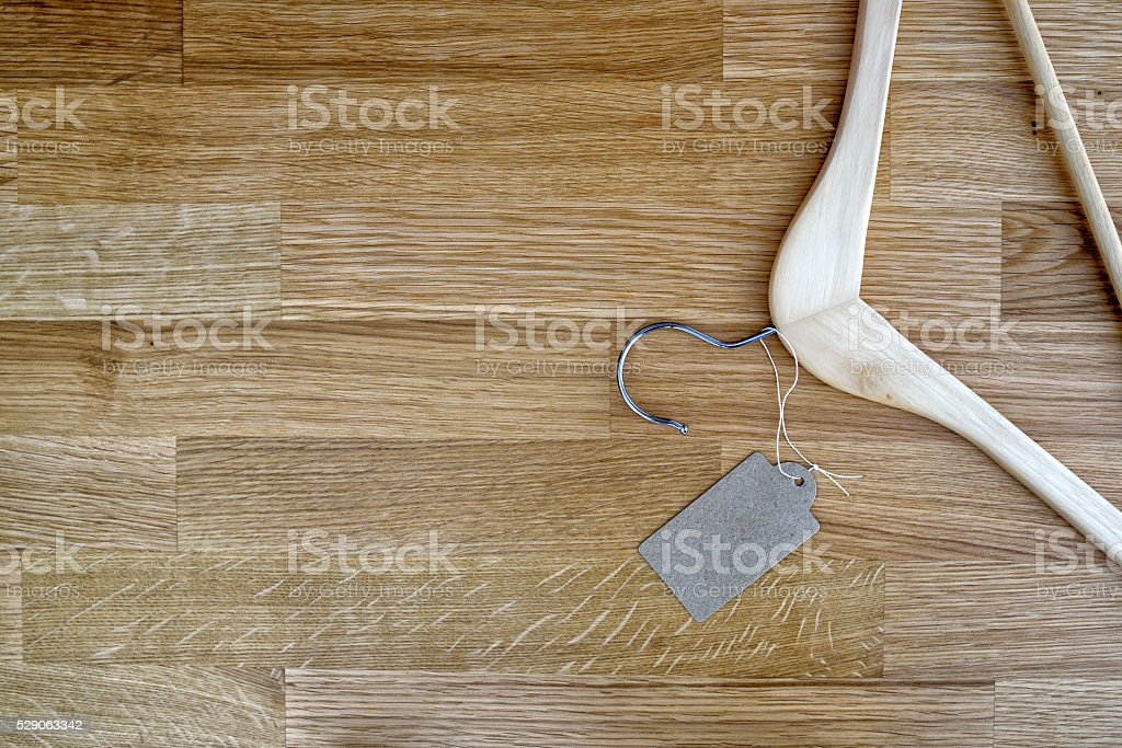 Hanger on a wooden table stock photo