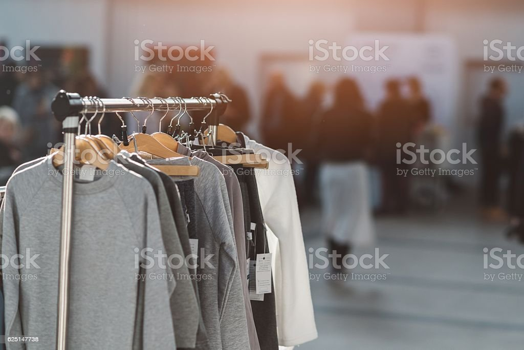 Hanger with new clothes stock photo