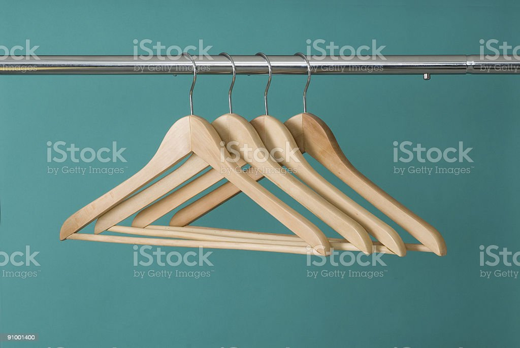 Hangers On Pole stock photo