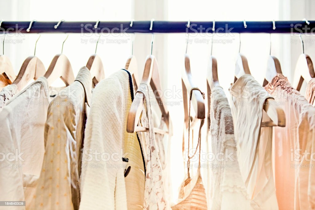 Hangers with clothes stock photo