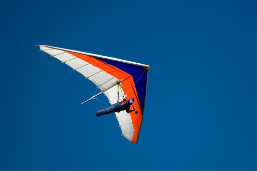 Hang-glider shot against a blue sky
