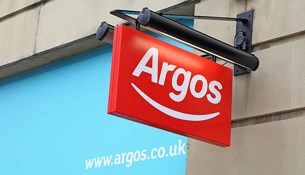 hanging Argos sign stock photo