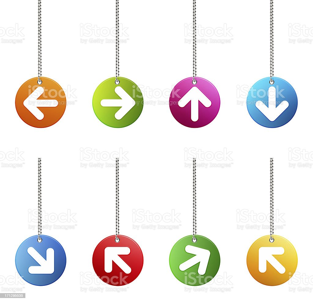 Hanging Arrow Sign Web Button (Clipping Path) stock photo