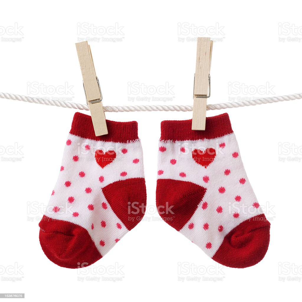 Hanging baby socks royalty-free stock photo