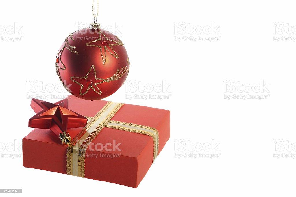 Hanging ball, star and gift box royaltyfri bildbanksbilder