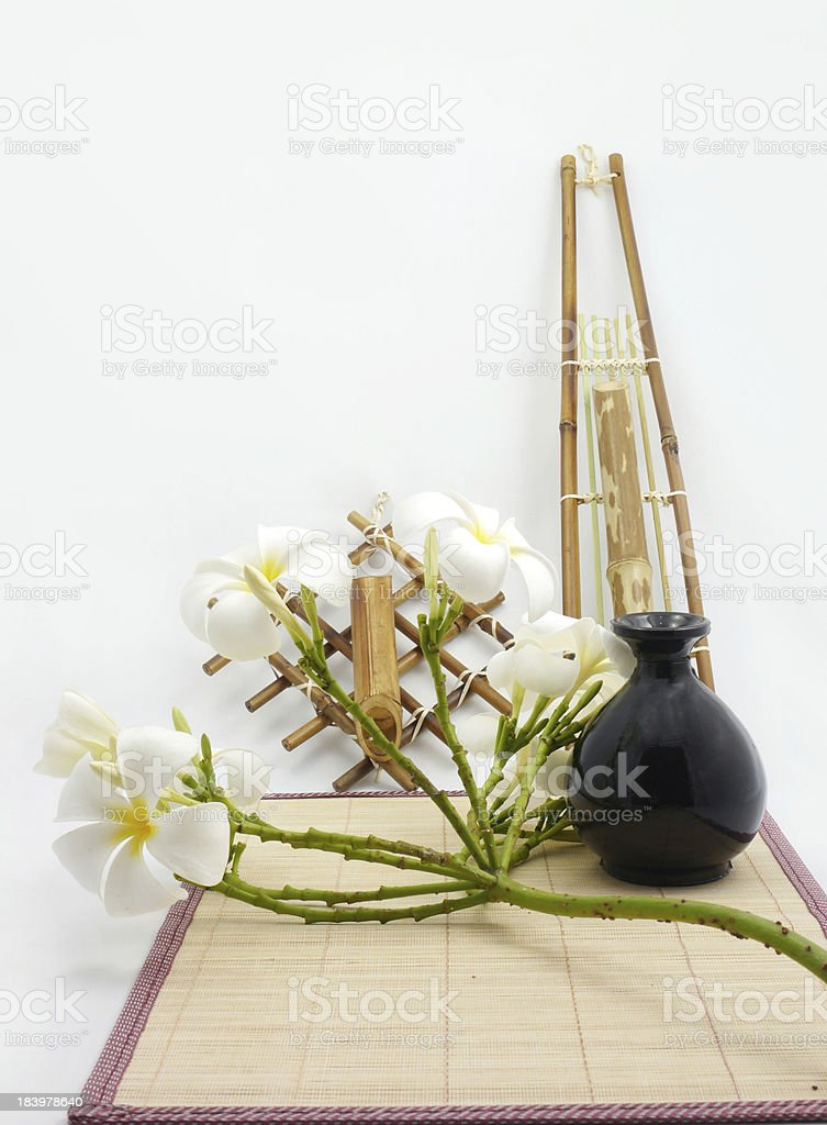Hanging bamboo basket of flowers. royalty-free stock photo