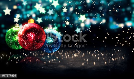 505891566 istock photo Hanging Baubles Christmas Blue Star Night Bokeh Beautiful 3D 517377835