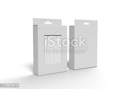 Hanging blank straw packaging box with hang tab box for mock up and presentation.