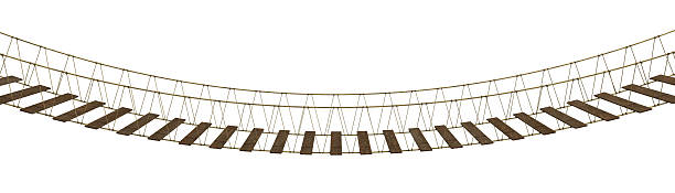 A hanging bridge made of rope and wood on a white background stock photo