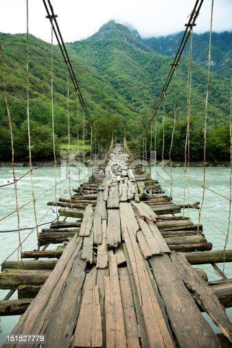 The rope bridge over mountain river photo