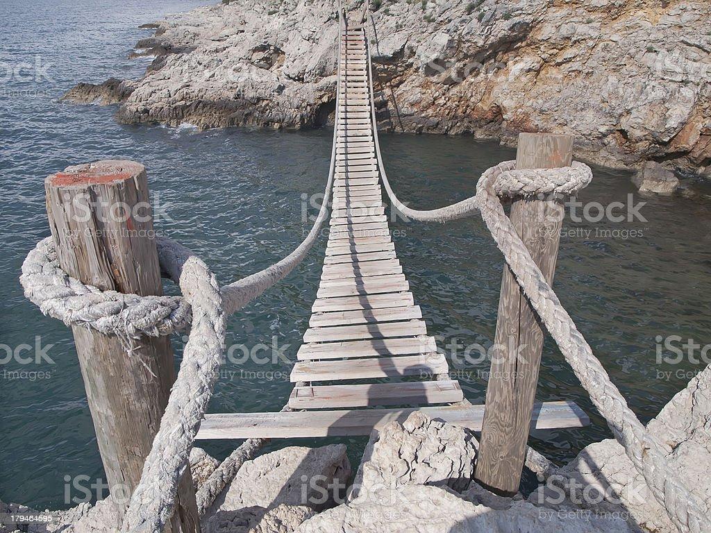 Hanging bridge stock photo