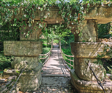 Vintage hanging bridge with stone arch and decorative leaves