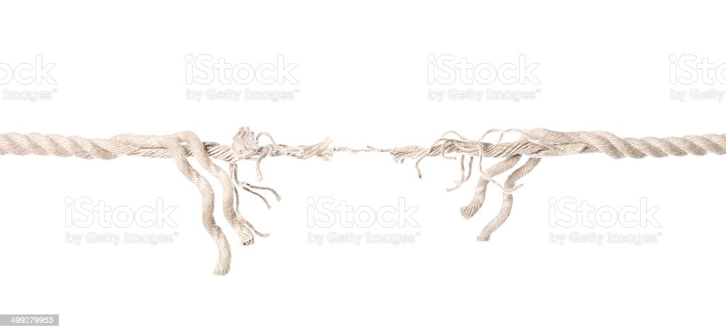 Hanging by a tread stock photo
