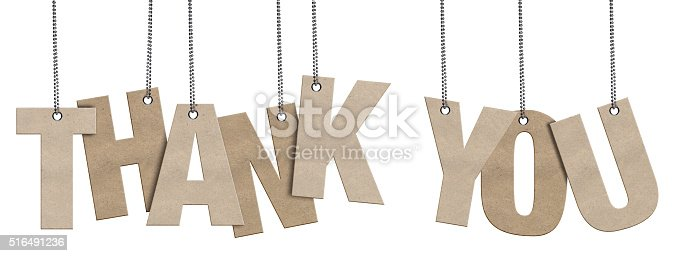 513601840 istock photo THANK YOU Hanging Cardboard word (Clipping Path) 516491236