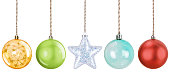 istock Hanging Christmas Ornaments on White Background 1185733250