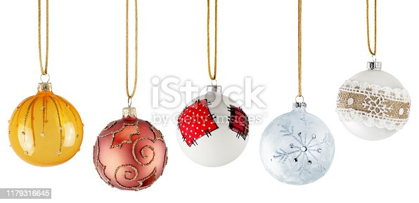 Beautiful Hanging Christmas Ornaments Isolated on White Background