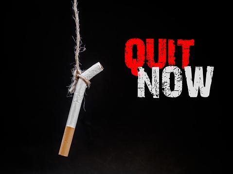 검은 배경에 Cigarete 걸려 자신을 죽 일 금연 흡연 개념입니다 세계 담배 일 없음 개념에 대한 스톡 사진 및 기타 이미지