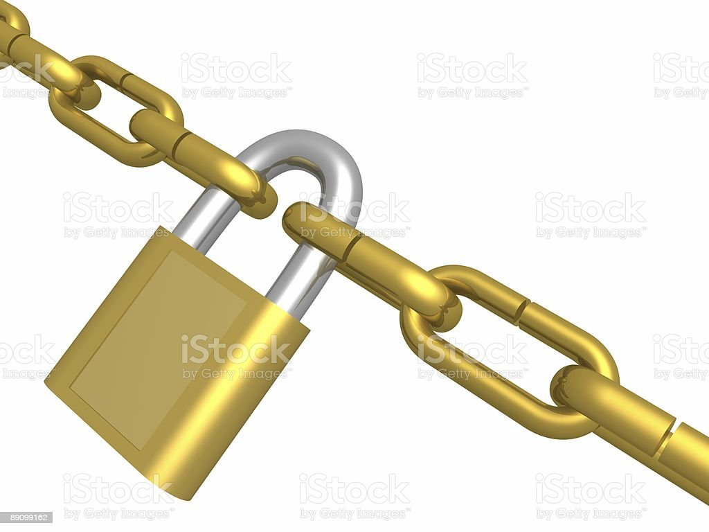 Hanging circuit closed on the lock. 3D image royalty-free stock photo