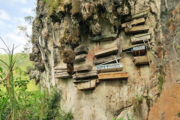 Hanging Coffins of Sagada, Philippines stock photo