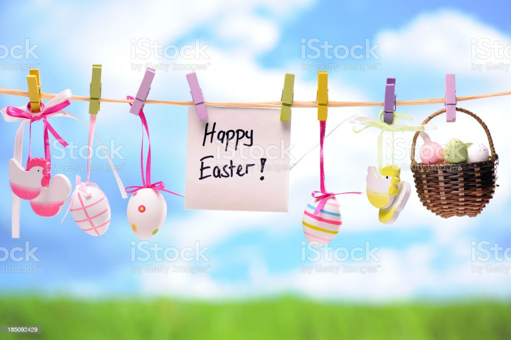 Hanging Colorful Easter Decoration royalty-free stock photo