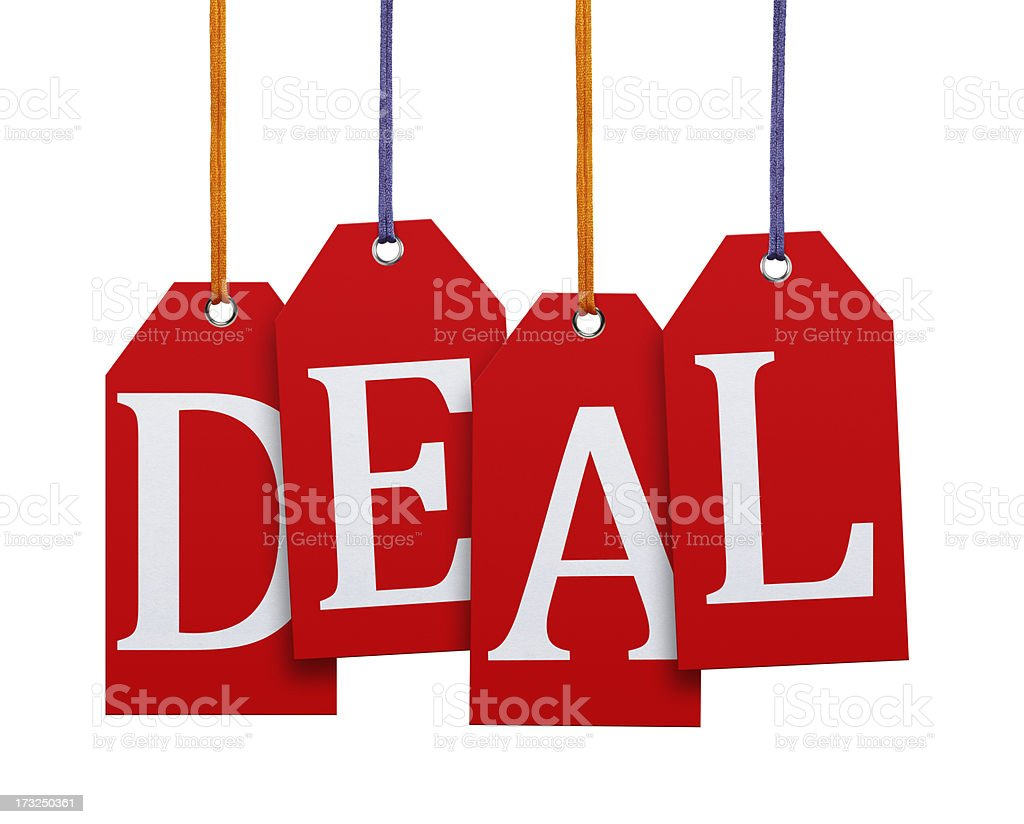 Hanging Deal Tags (Clipping Path) royalty-free stock photo