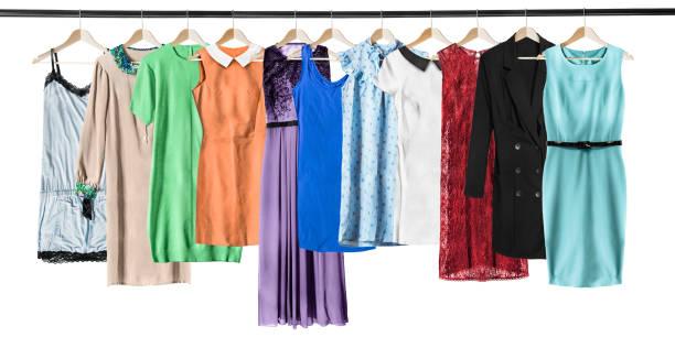 hängende kleider isoliert - abendkleid lang blau stock-fotos und bilder