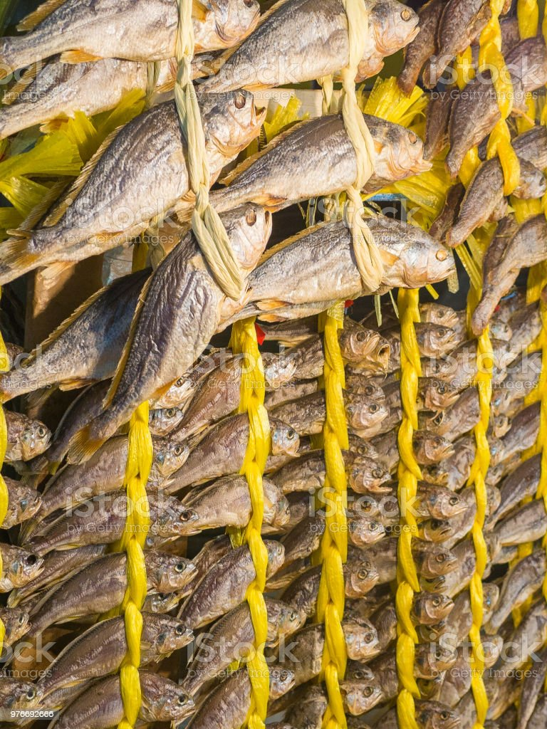 Hanging dried fish - yellow rope - market stock photo