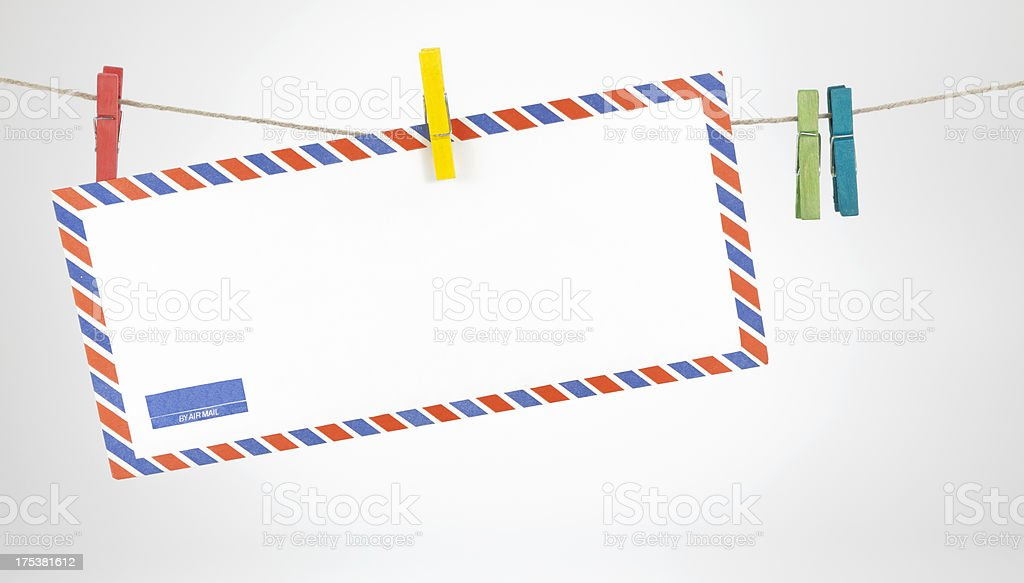 Hanging envelope with clothes peg royalty-free stock photo