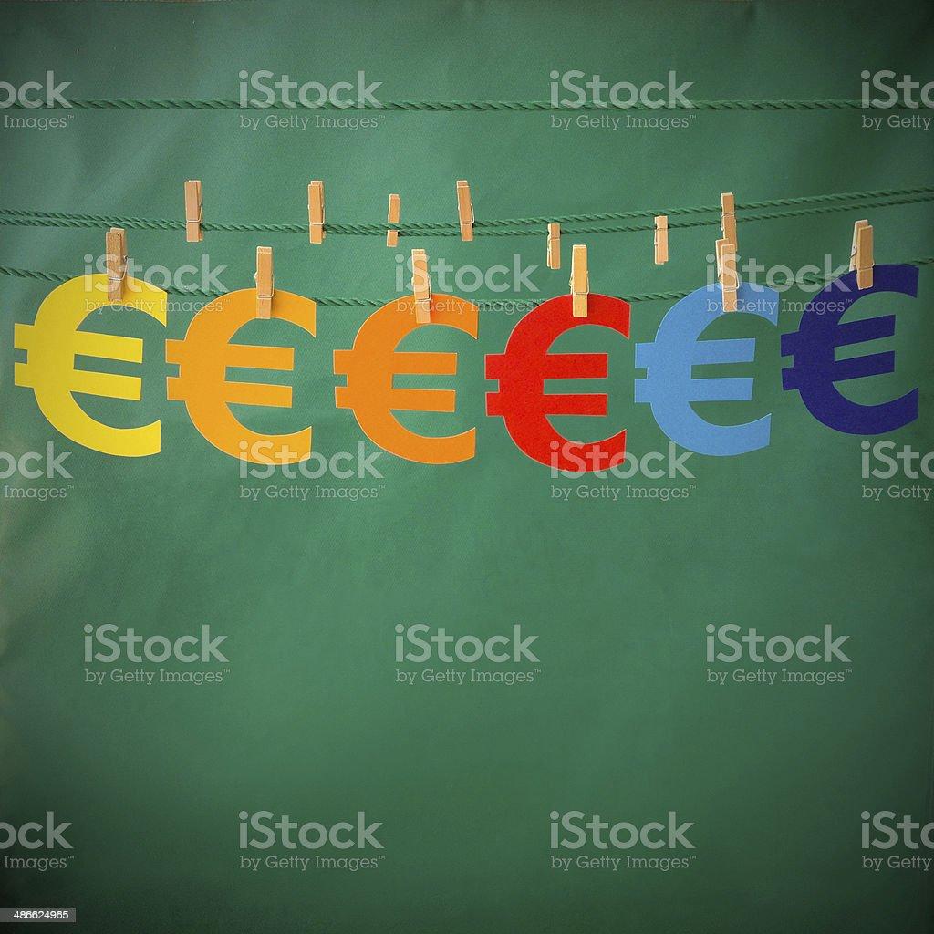 Hanging euro signs royalty-free stock photo
