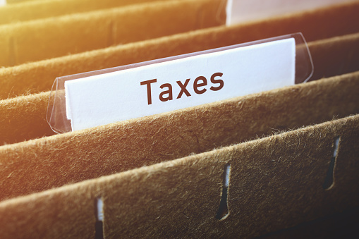 Hanging Files Labelled Taxes