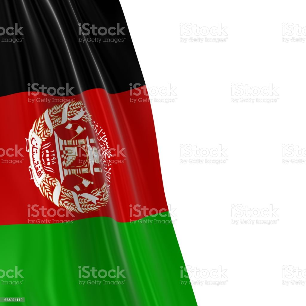 Hanging Flag of Afghanistan - 3D Render of the Afghan Flag Draped over white background stock photo