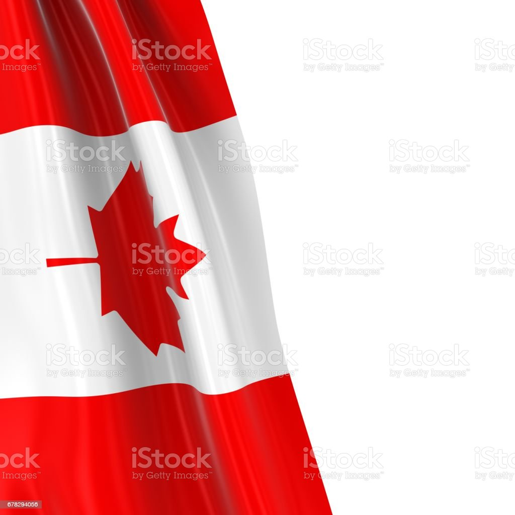 Hanging Flag of Canada - 3D Render of the Canadian Flag Draped over white background with copyspace for text stock photo